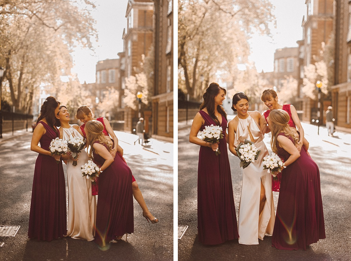 Bride having fun with Bridesmaids