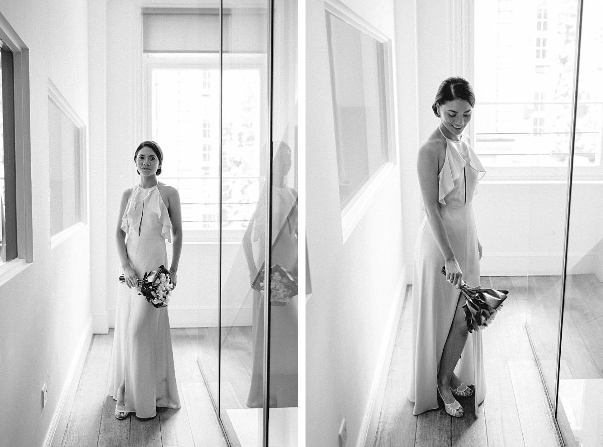 Black & White Portrait photo of Bride with bouquet