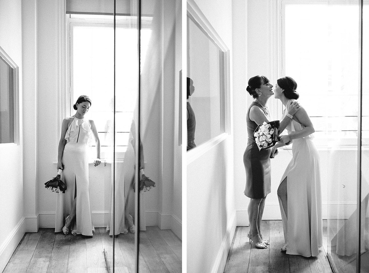 Black & White photo Of Bride with mother