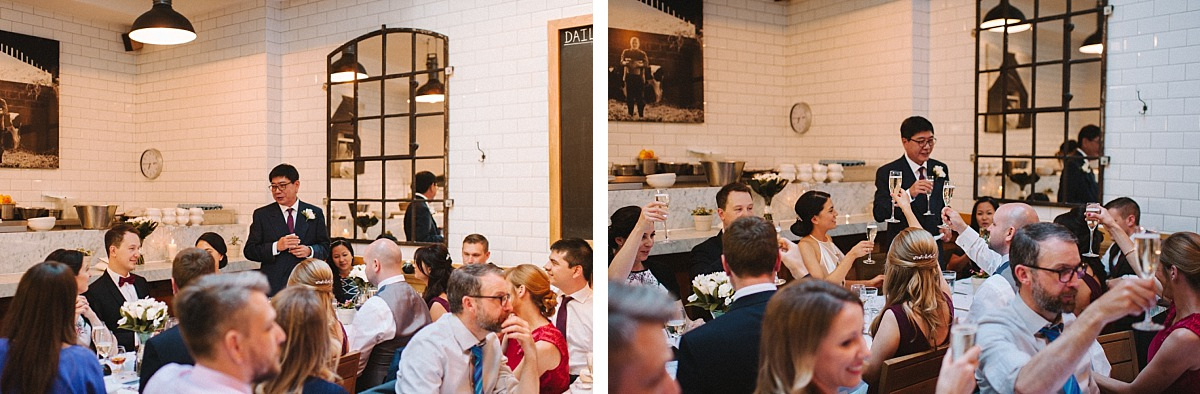 Chelsea Wedding Photographer Matt Lee photographing Father of Bride giving speech