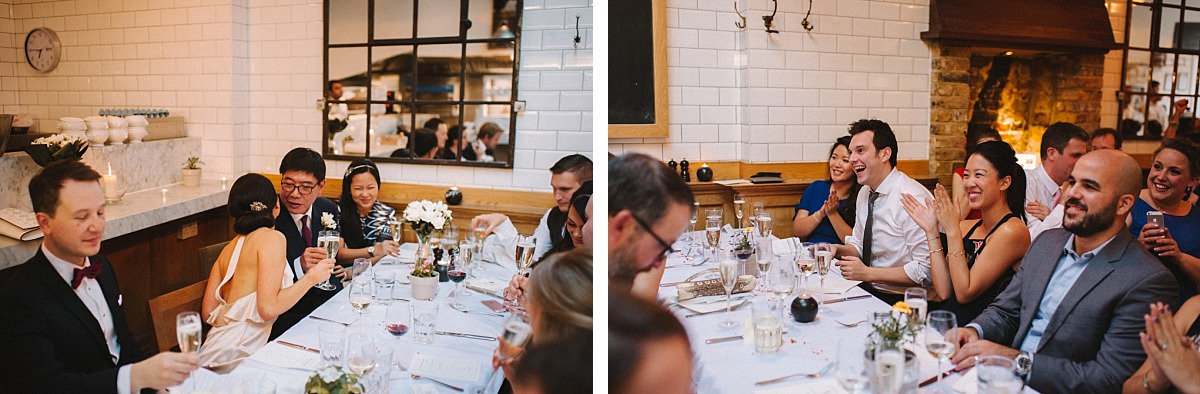 Guests clapping at speech by Chelsea Wedding Photographer Matt Lee