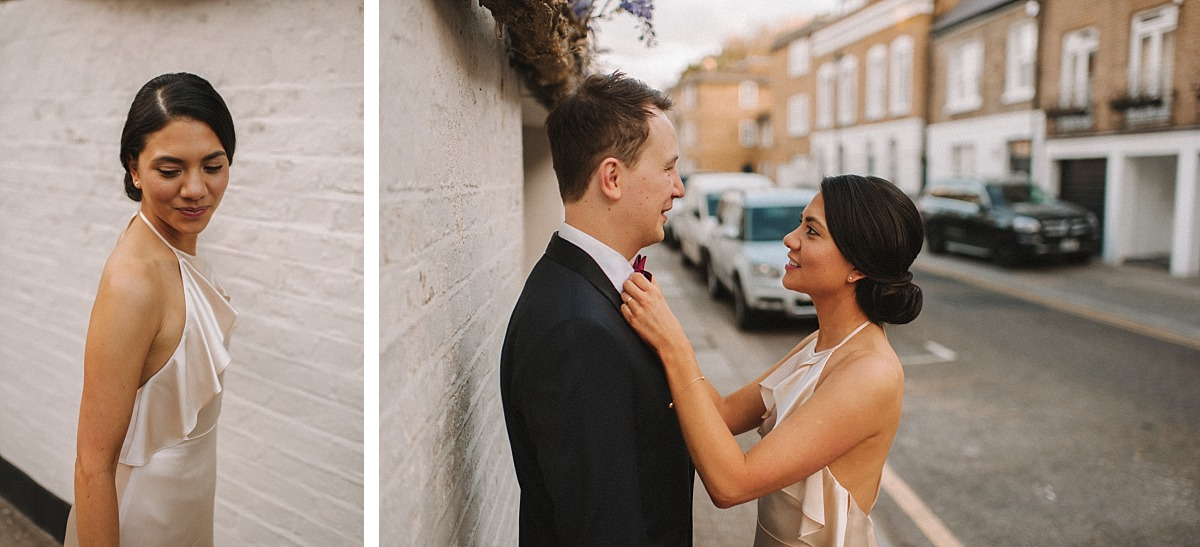 Weddingphoto ofmarried couple in a Chelsea Street