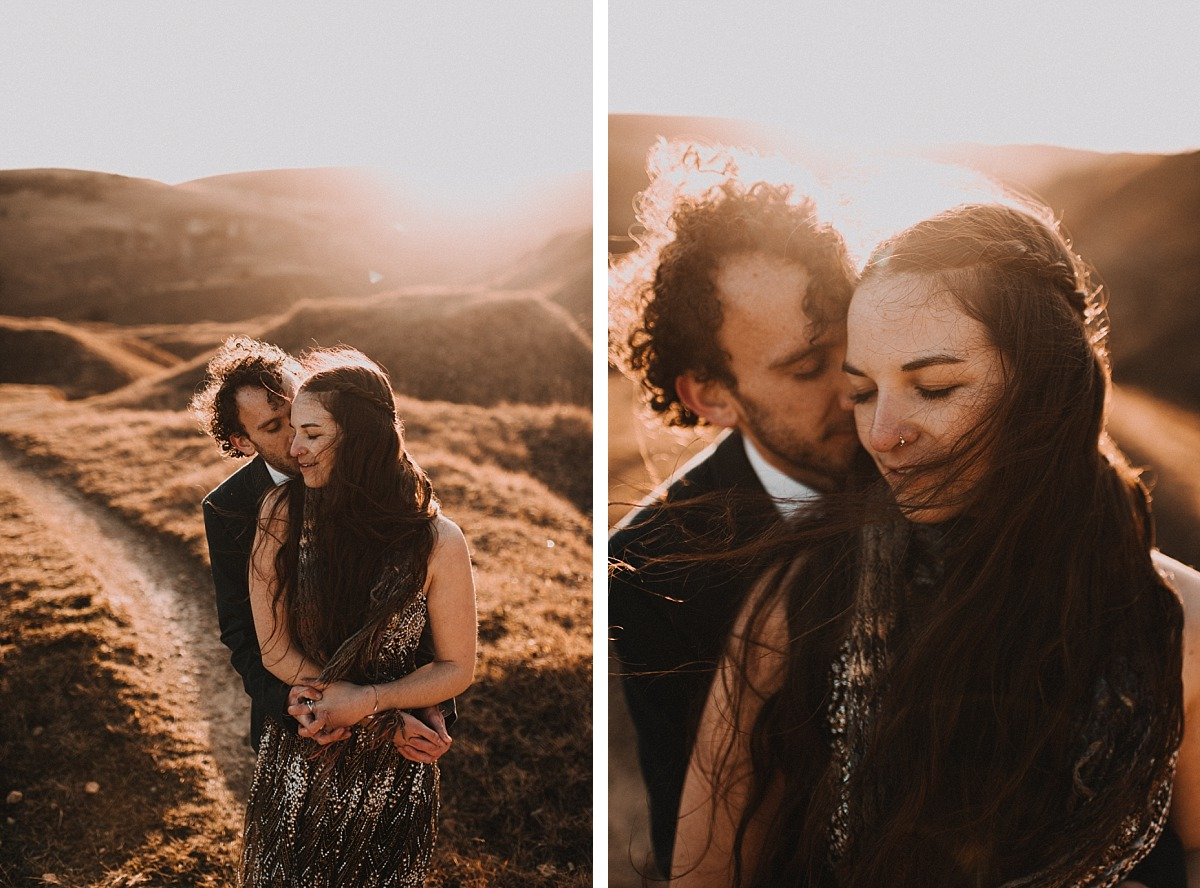 Intimate photo of Engaged couple in amazing light in the Cotswolds hills