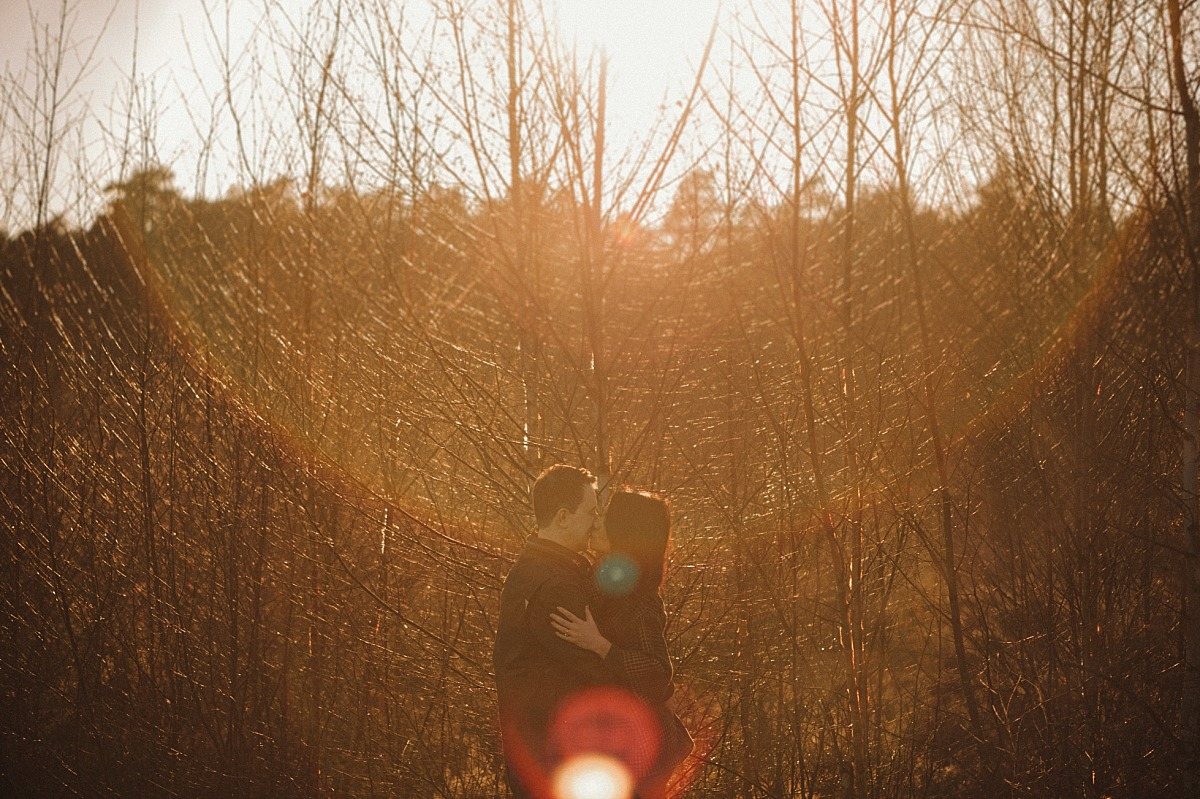 Maried couple kissing with trees & Sunset behind