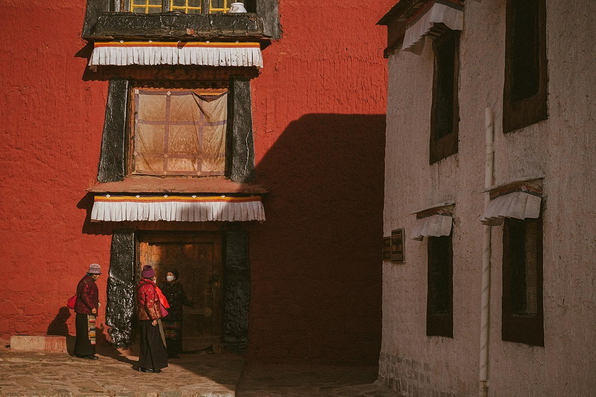 Colourful buildings in Tibet