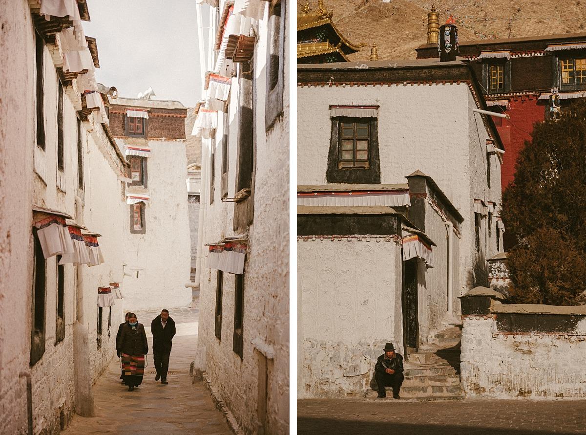 Monks in city in Tibet