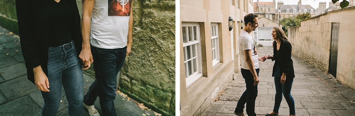 couple walking down street in Bath
