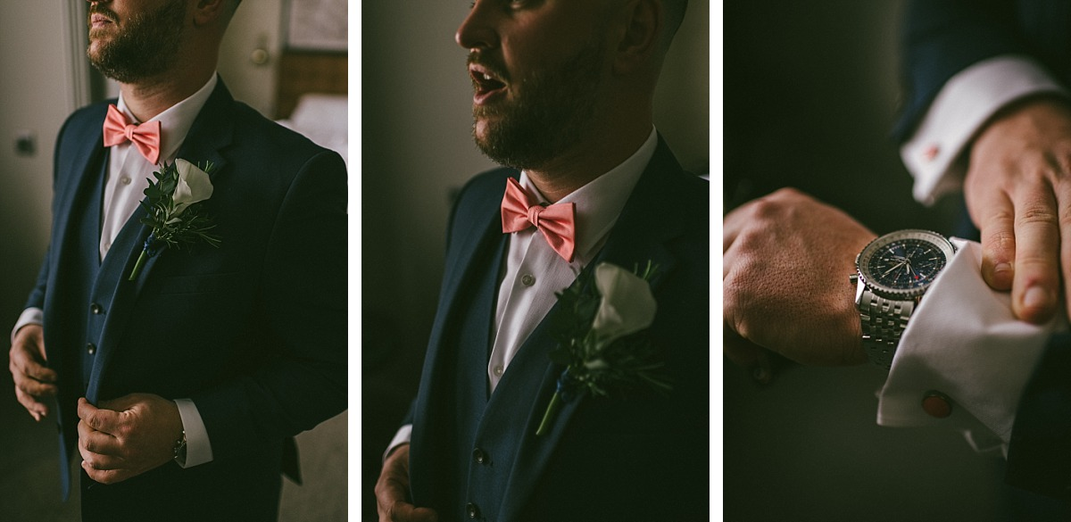 Close up photo of Grooms Pink bowtie