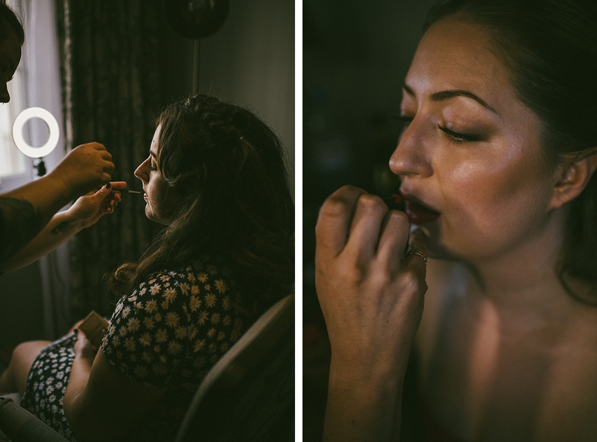 Close up photo of Bride & Bridesmaids makeup being done, by Reading Wedding Photographer