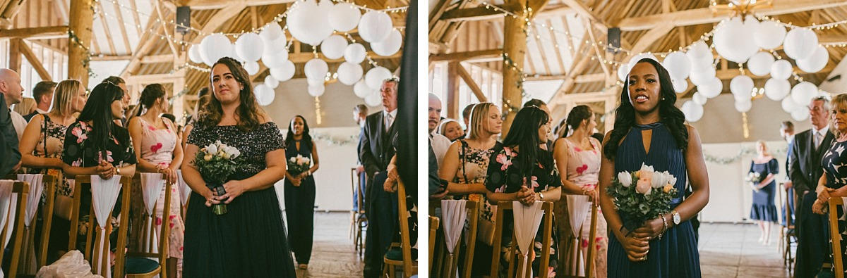 Bride entering wedding ceremony in Ufton Court wedding venue