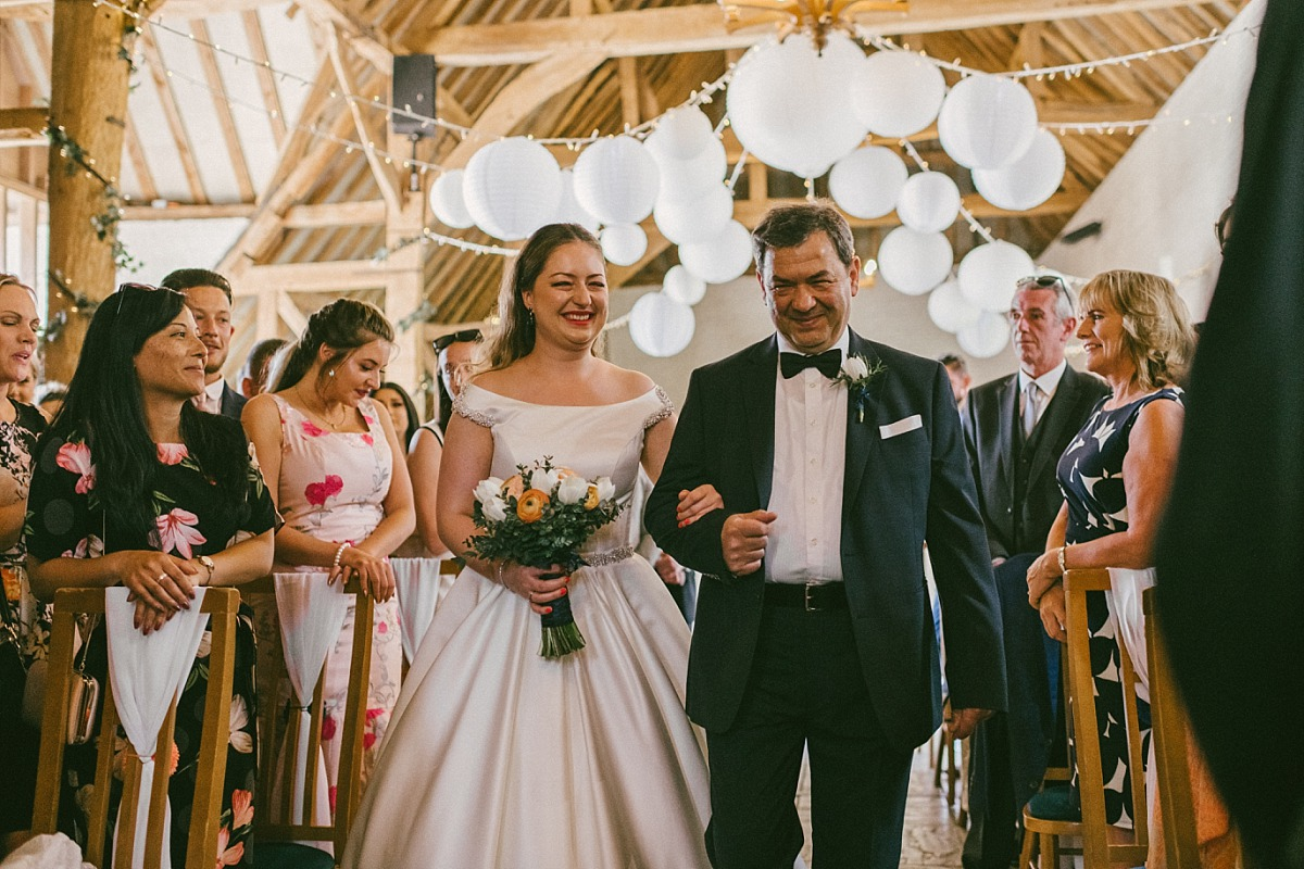 Bride & dad entering Ufton Court by Matt Lee Photography