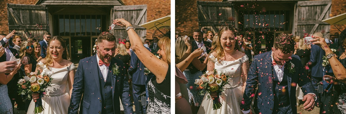 Photograph of wedding guests throwing confetti