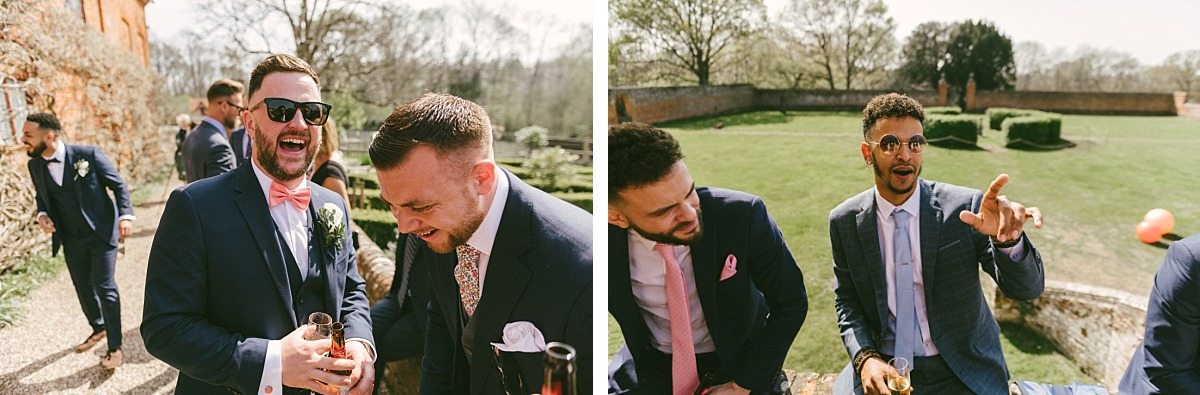 Male friends of groom laughing and joking