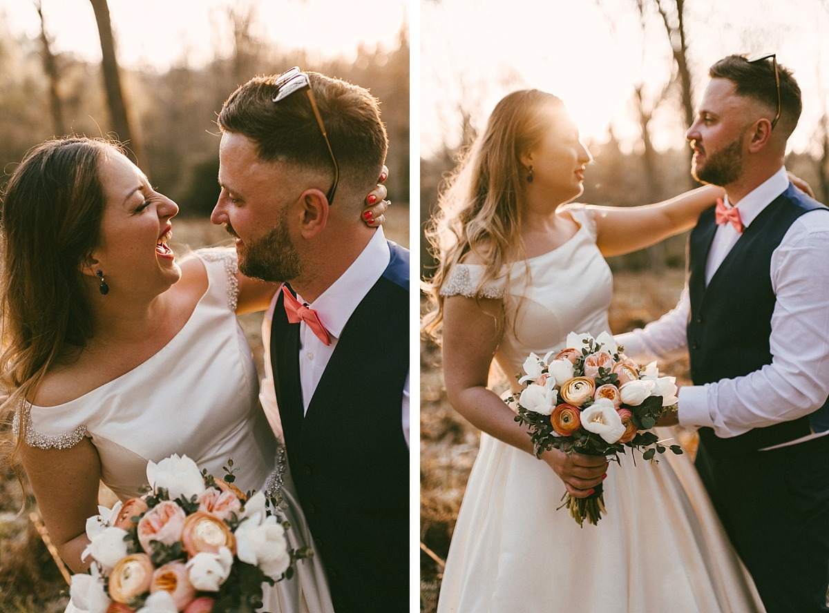 Portrait photography of a Bride & a Groom having fun