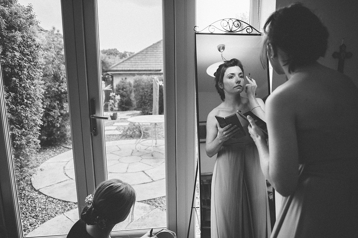 black & white photo of bridesmaid