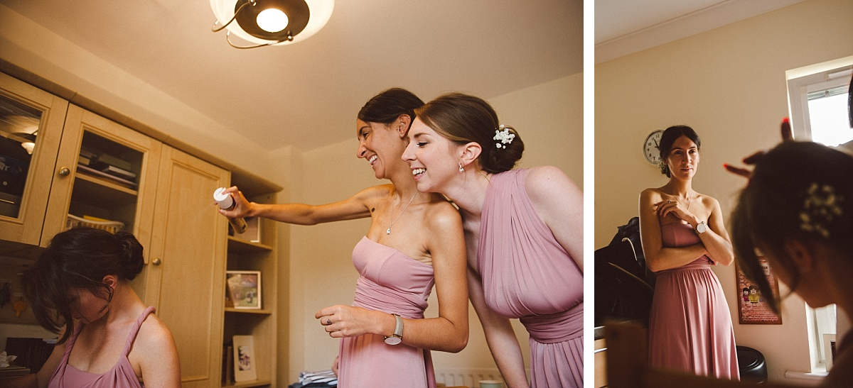 bridesmaids having fun in morning