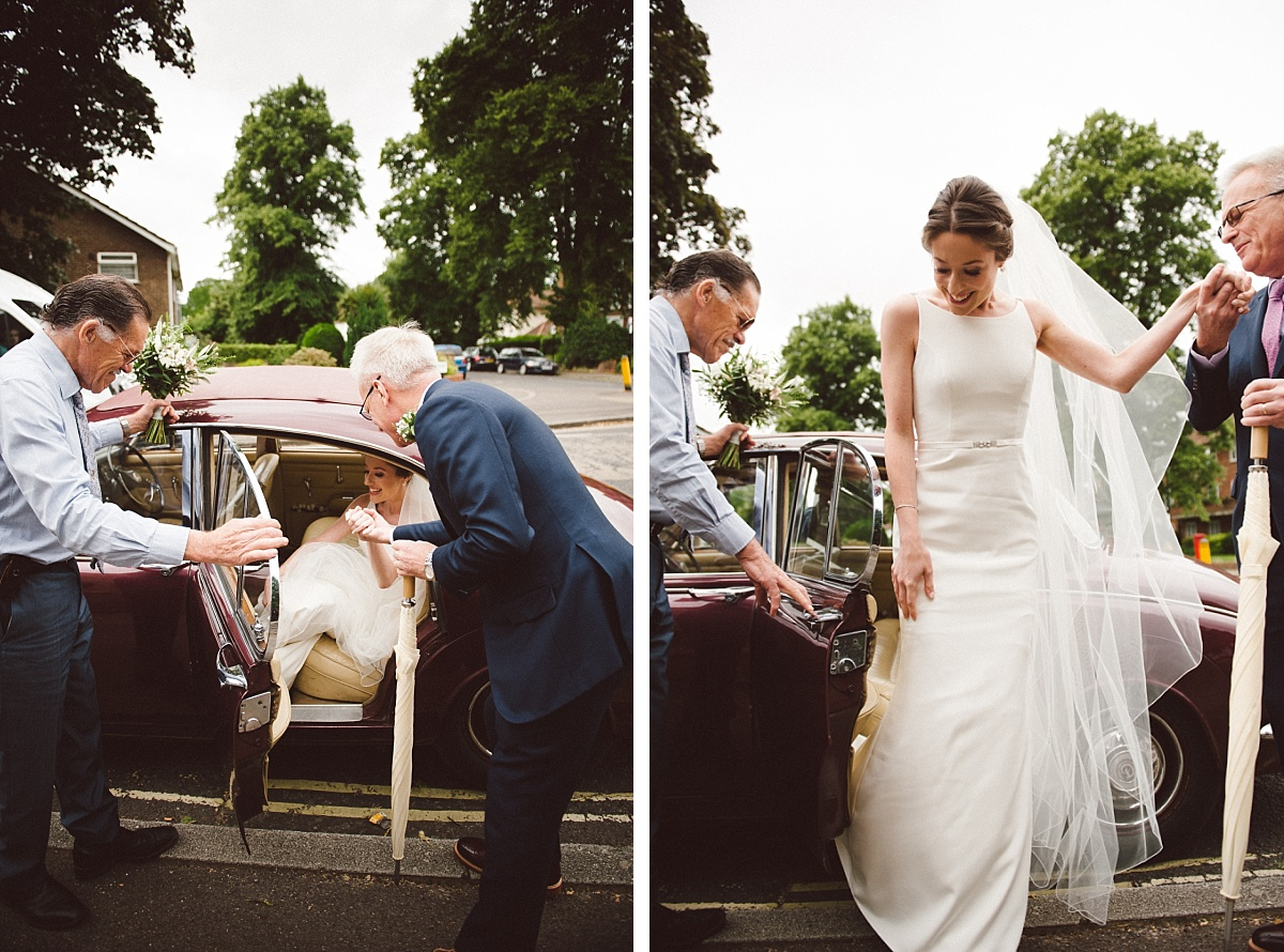 photo of bride getting out of car