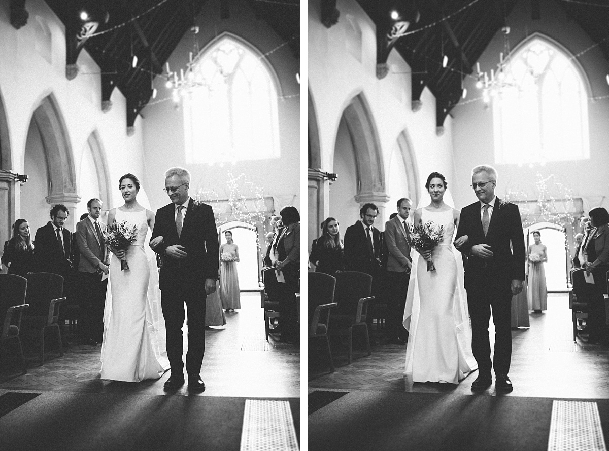 black & white photo of bride and father