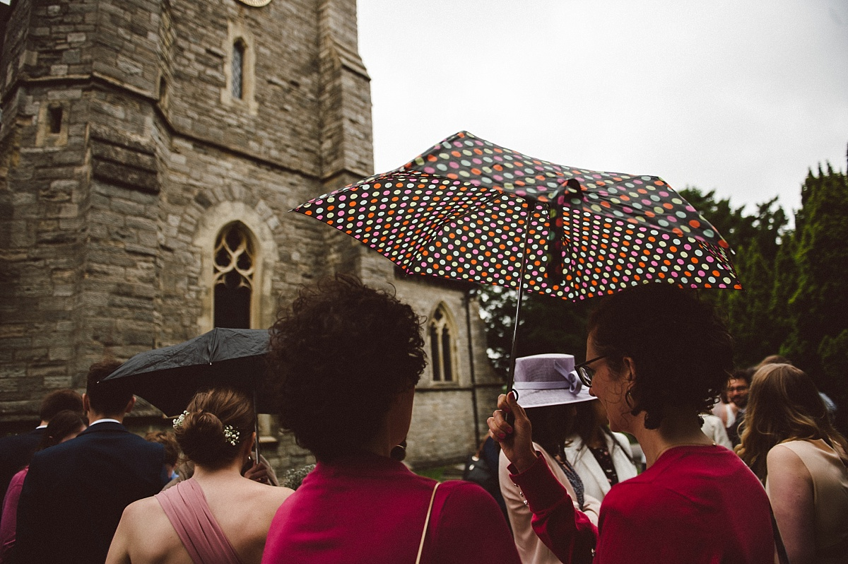 photo of umbrella outside church