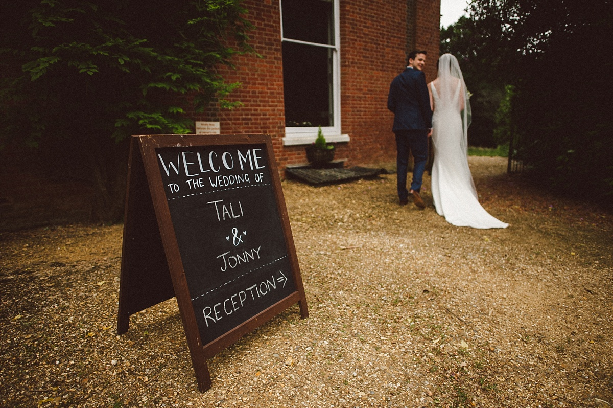 bride & groom arriving at Rownhams House