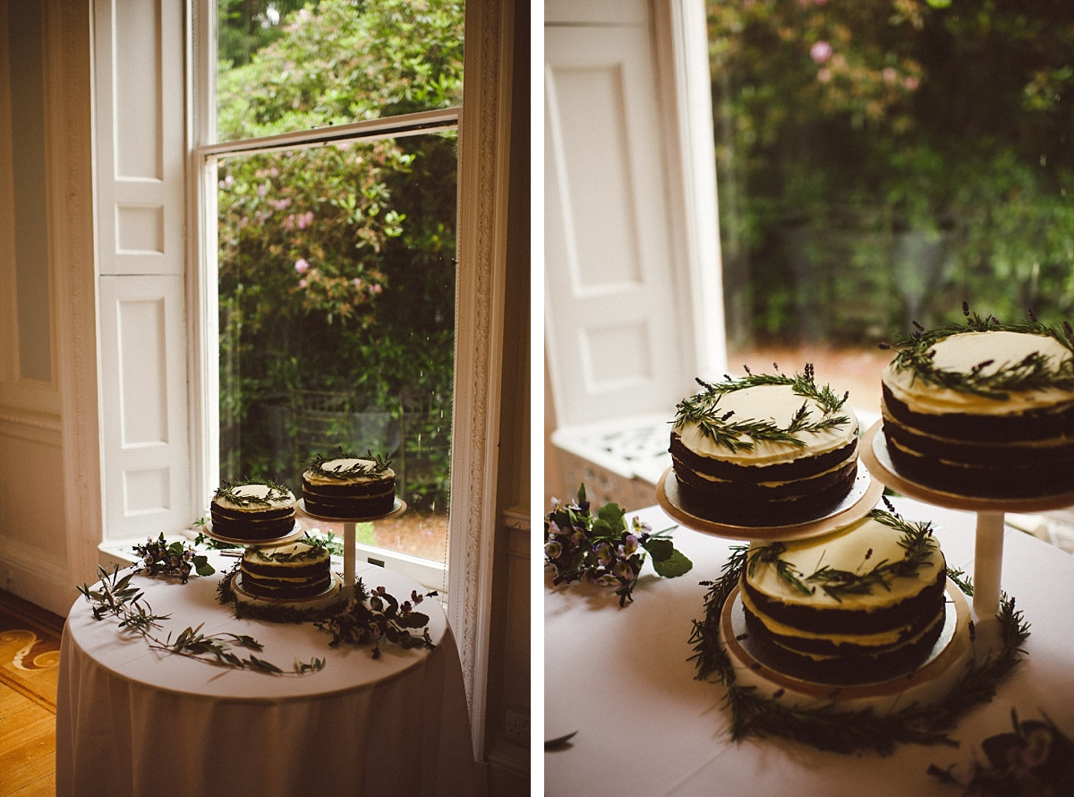 wedding cake next to window
