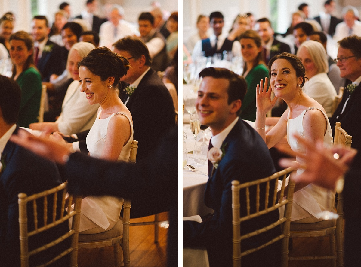 photo of bride laughing at Rownhams House