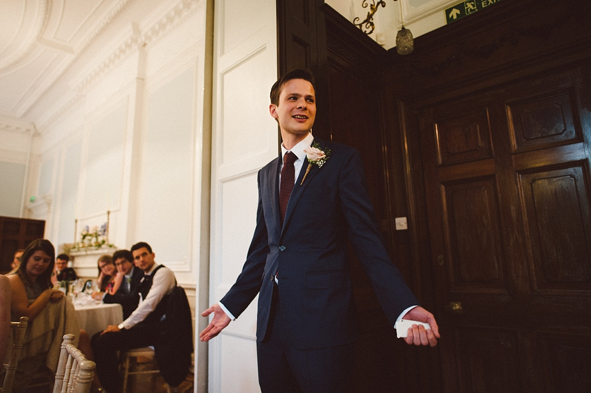 groom giving speech at Rownhams house