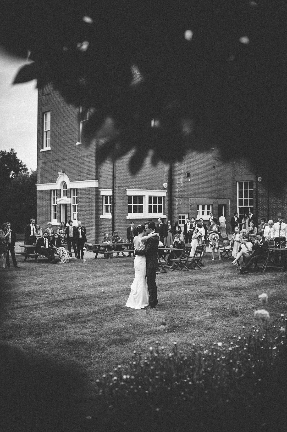 black & white photo of first dance at Rownhams House