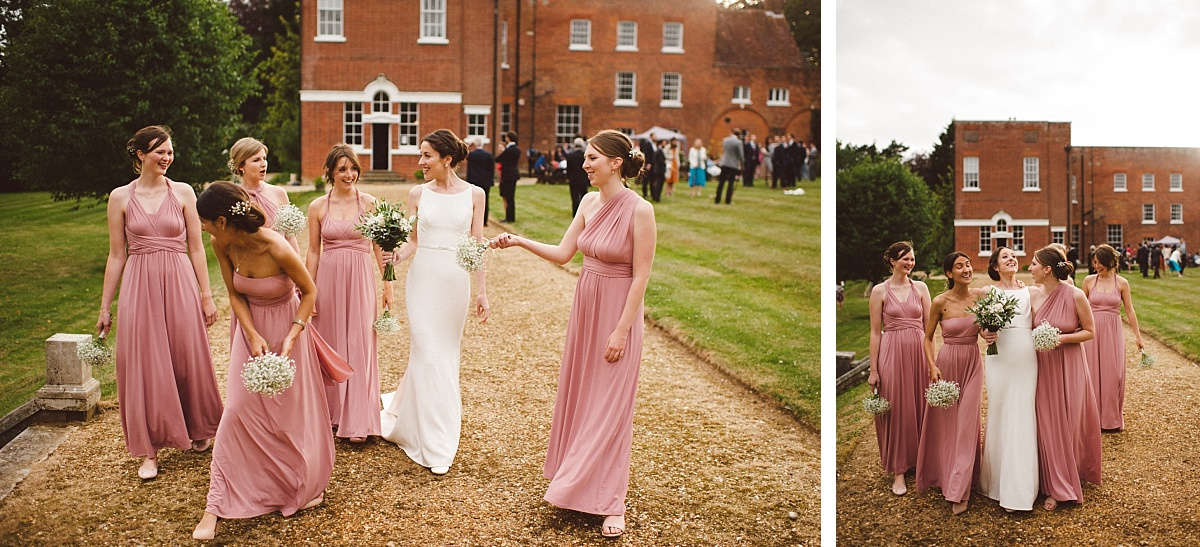 bride with all bridesmaids at Rownhams House