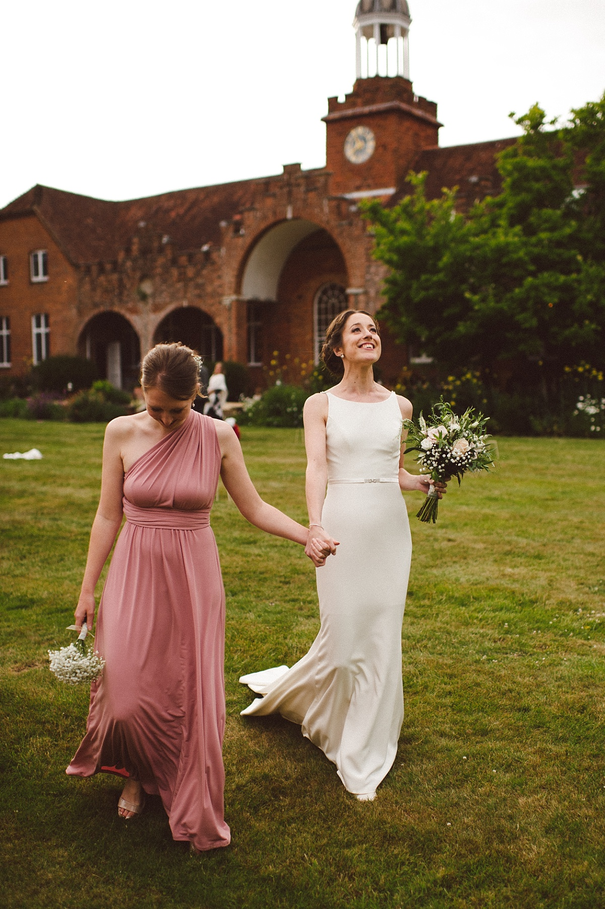 bride and bridesmaid on wedding day