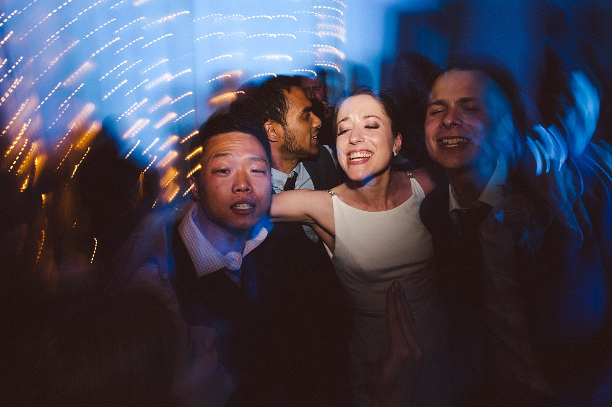 bride having a good time at wedding