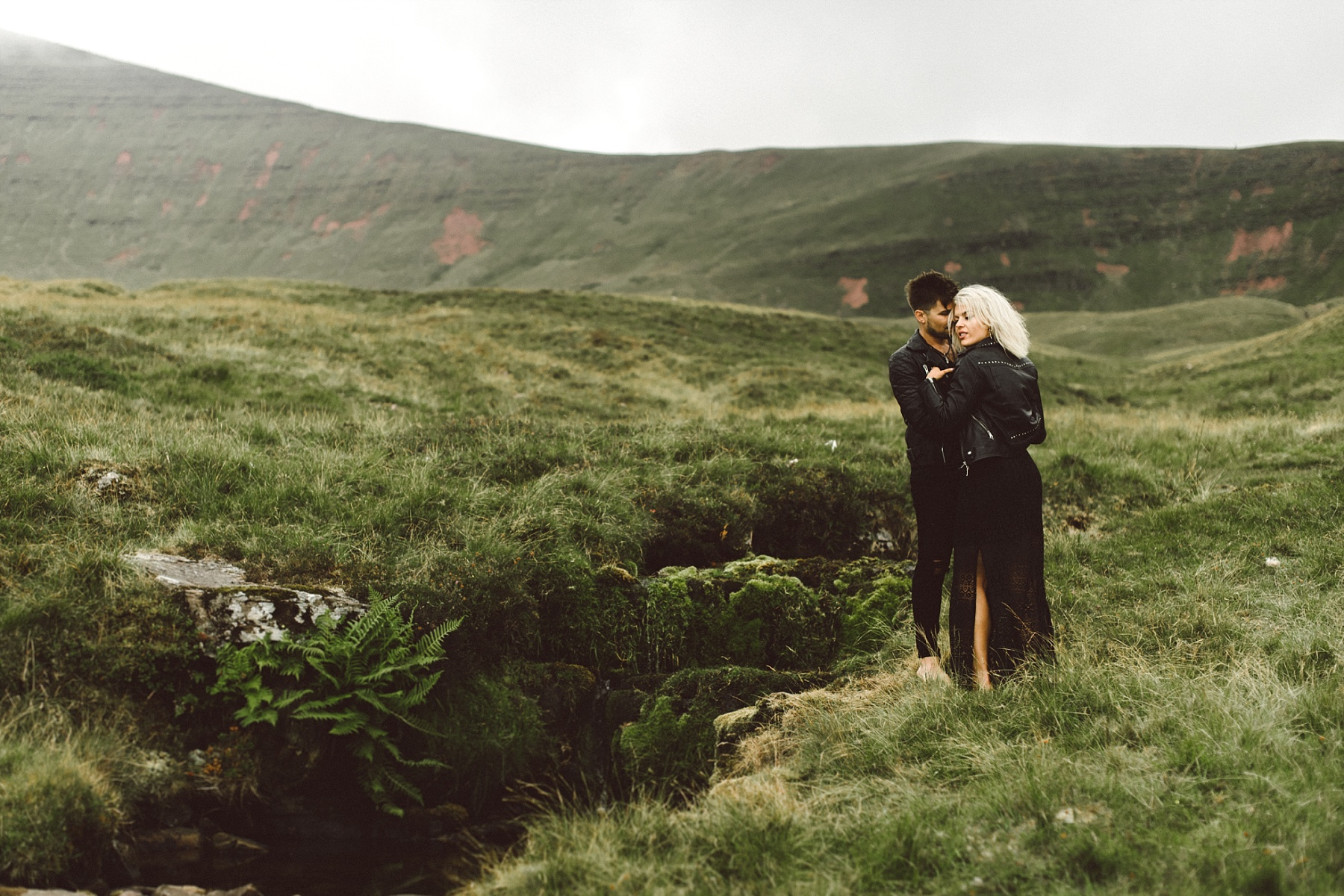 Couple in mountains by South Wales wedding photographer