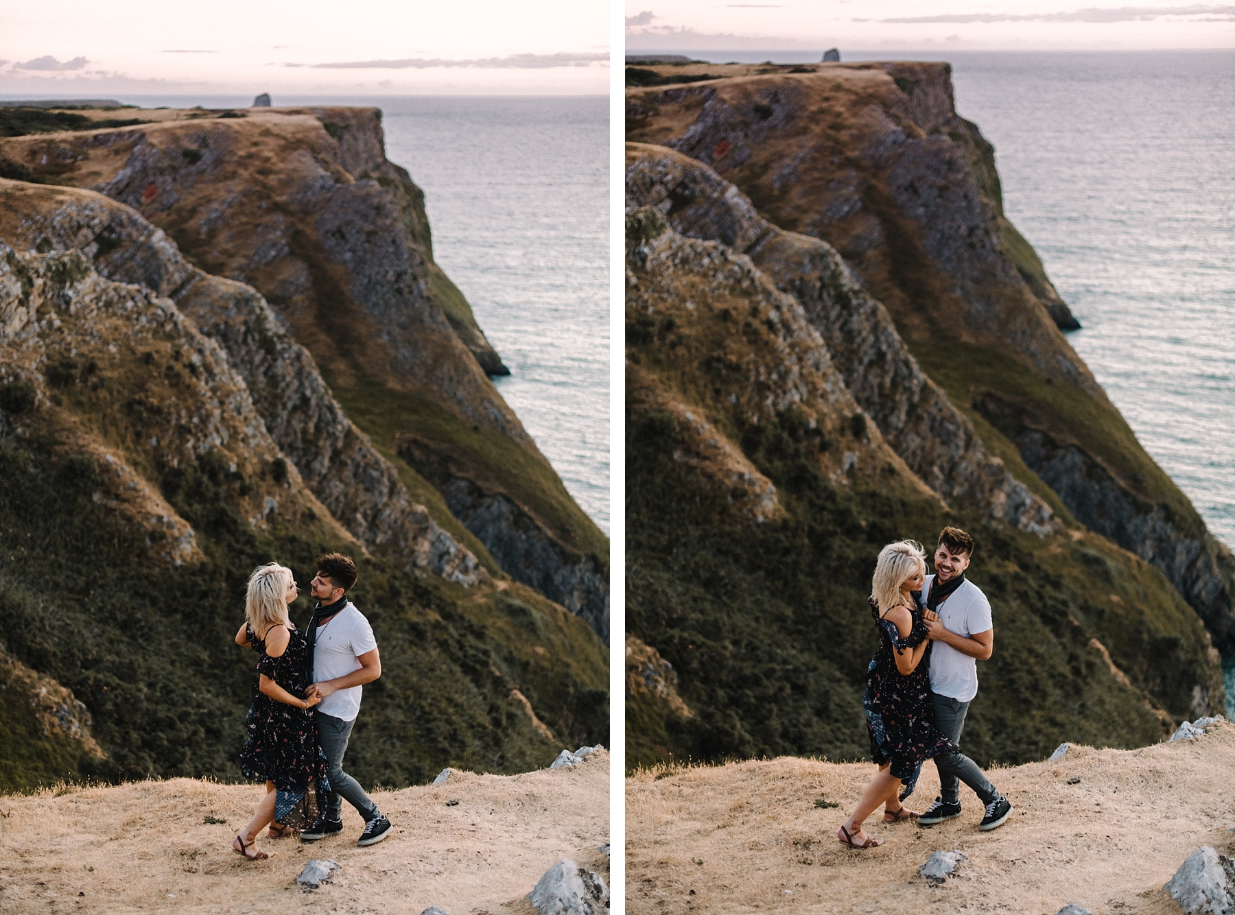 two photos of couple in love
