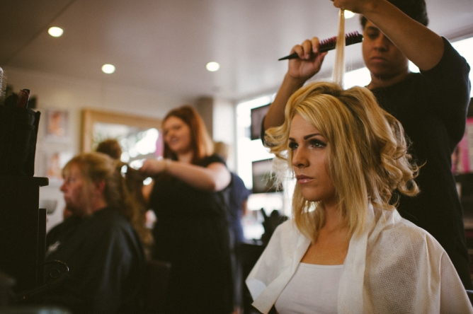 Photo of Bride in salon on morning of her wedding day