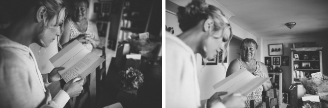 Photo of Bride reading wedding card