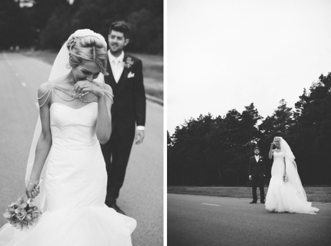 Black & white photo of couple just married
