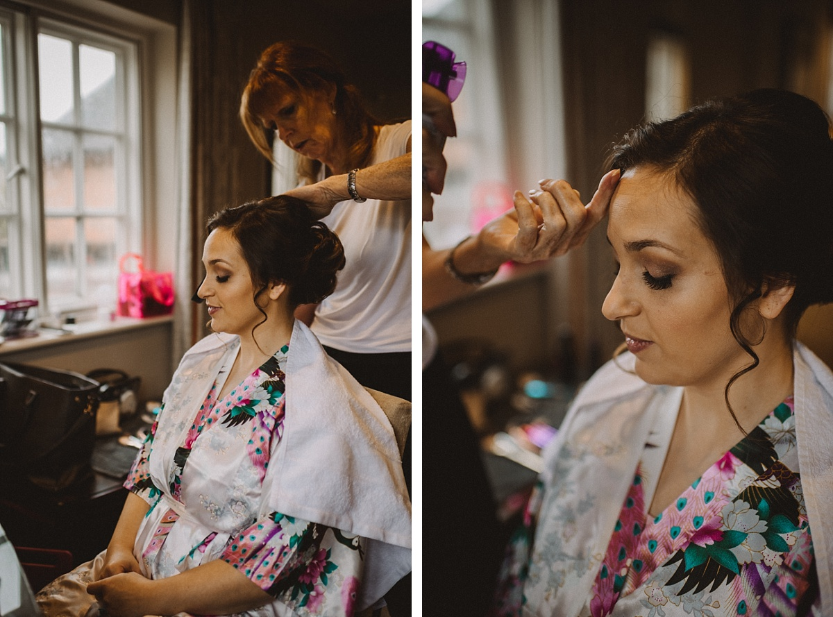 Bride nearly ready for wedding ceremony