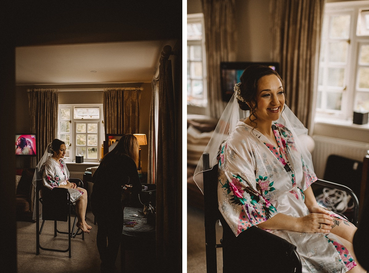 Bride getting ready at The Bell Inn New Forest