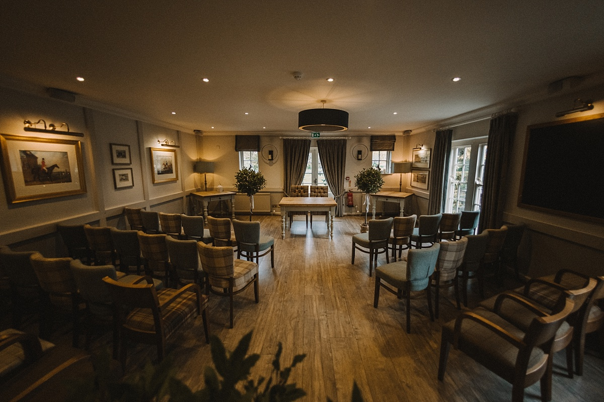 wedding ceremony room at The Bell Inn New Forest