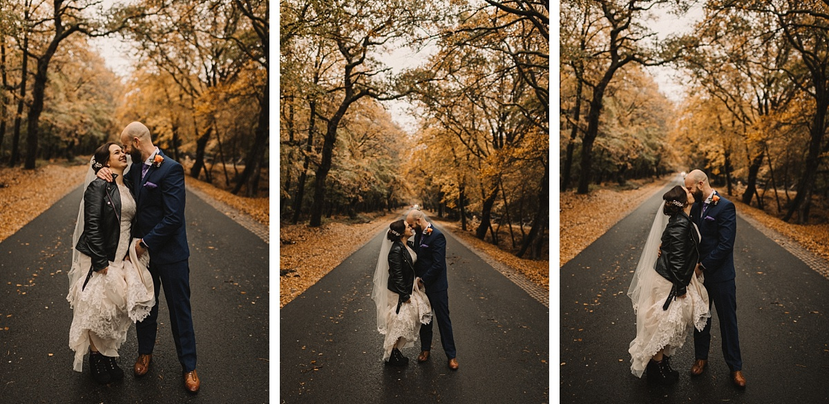 3 pictures of couple infront of autumn colours