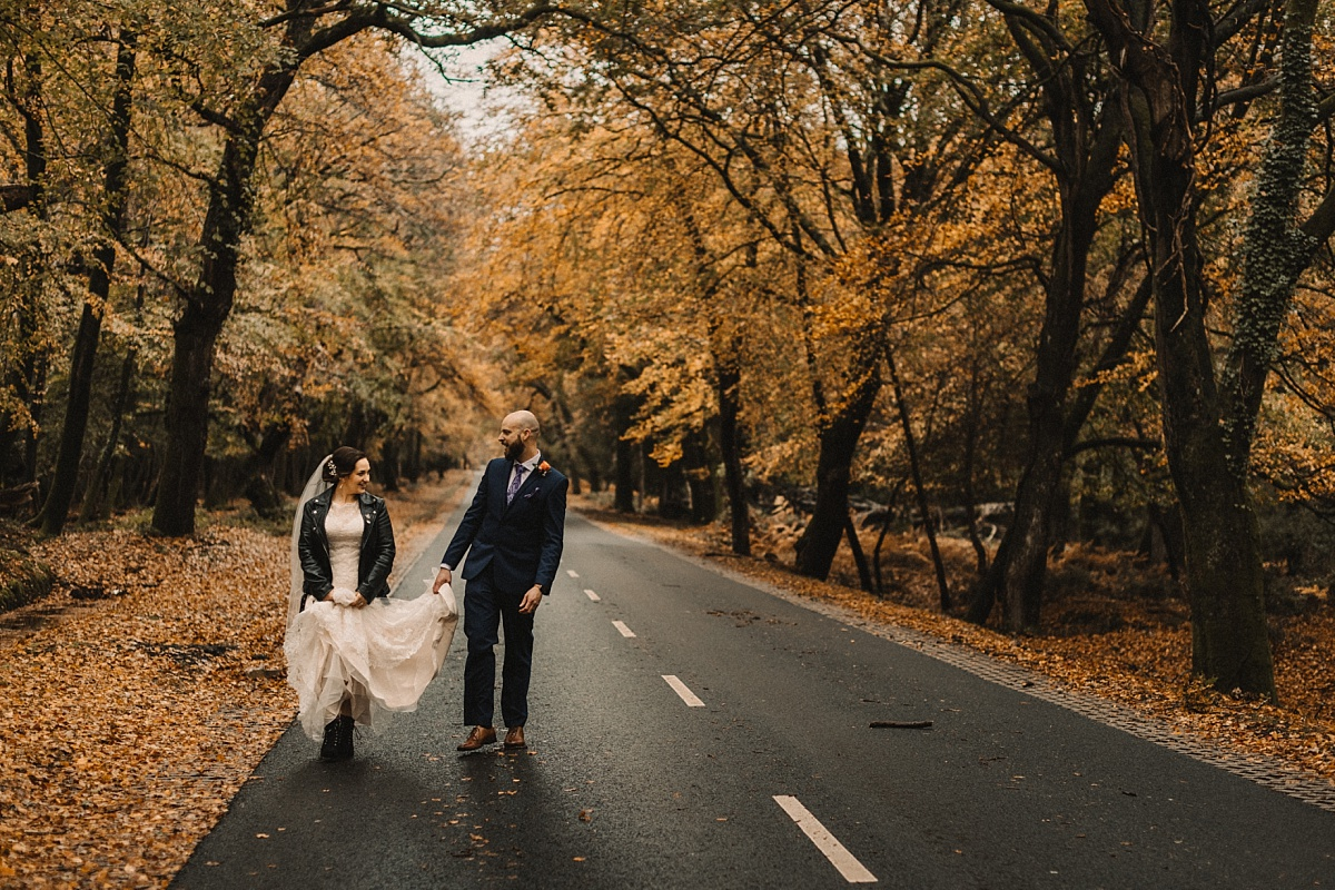 wedding picture of autumn road