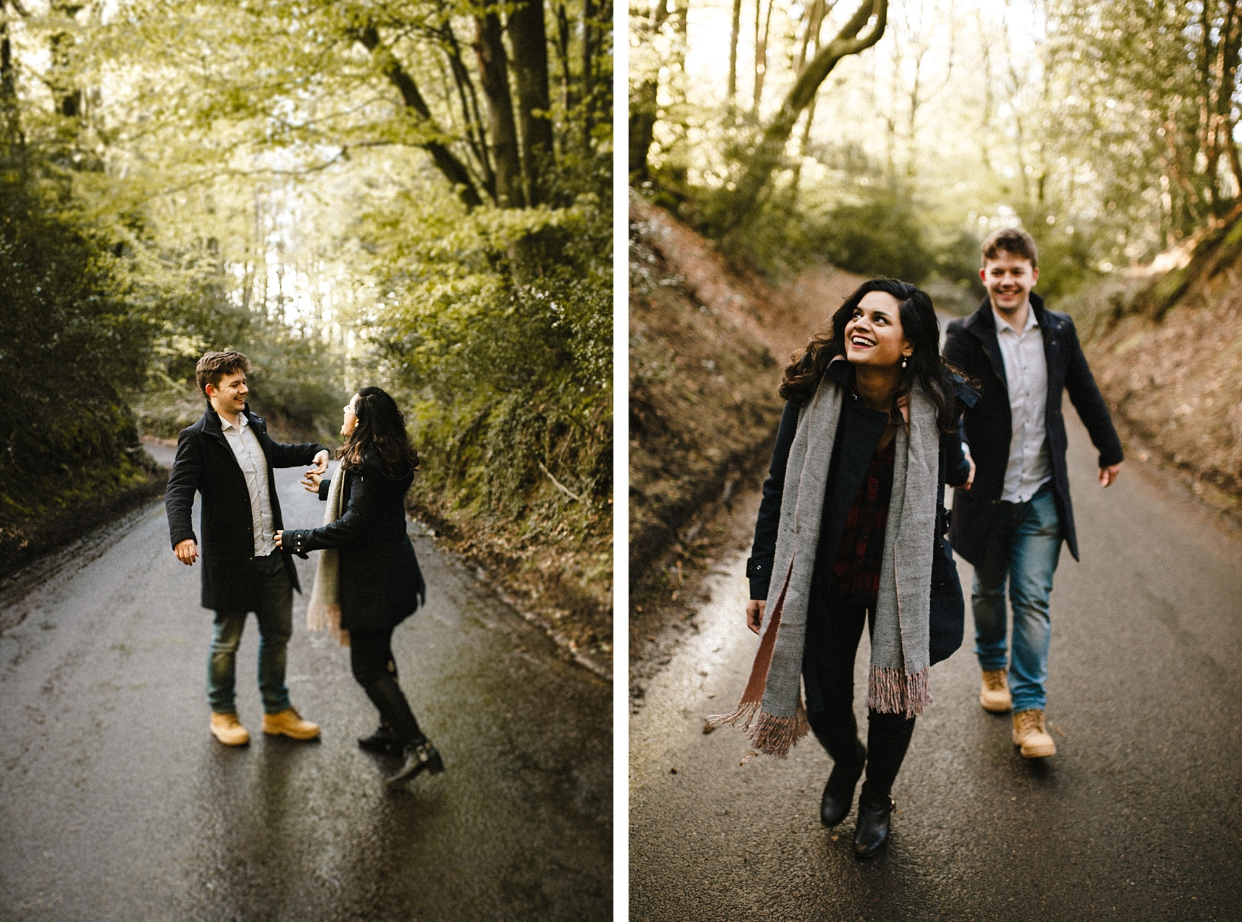 Colour photo of Bride & groom walking up road