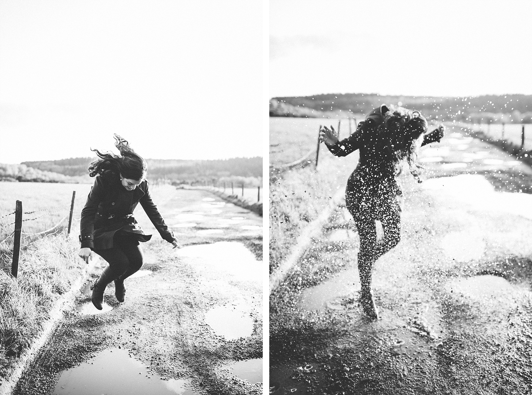 Black & white photo of bride to be jumping in puddle