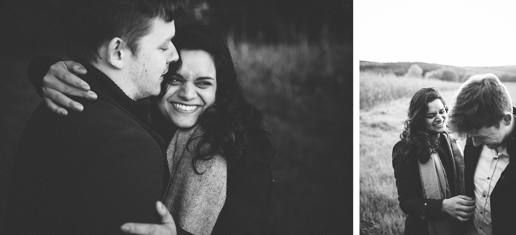 Black & White photo of wedding couple laughing